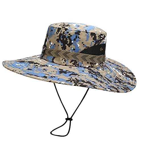 LRZLZY Verano al aire libre Boonie Caza Safari de pesca Cubo Sombrero de sol con correa ajustable UPF 50+ de protección solar del casquillo del acoplamiento for Safari Pesca Viajes transpirable Protec