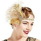 ArtiDeco Diadema de los años 20 para mujer, estilo años 20, charlestón, Great Gatsby, accesorio para disfraz beige dorado. Talla única