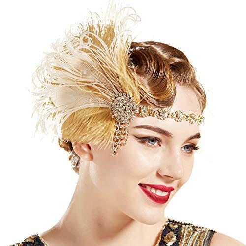 ArtiDeco des années 1920 bandeau plume paon casque cristal Vintage des années 1920 clapet plume bandeau Great Gatsby Costume accessoires rugissant 20 accessoires (Or)