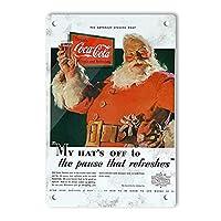 RCY-T Retro Santa Claus Drink Coca Cola サイン, 軽量アルミ壁の装飾ヴィンテージサイン for Men Cave Coffee Bar Home Garage Movie 20x30cm