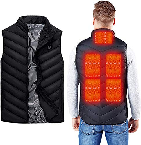 Electric Heated Vest for Men Women - USB Rechargeable Unisex Warming Heating Vest - Best Battery Powered Washable Jacket for Hunting Motorcycle Winter Outdoor (Power Bank Not Included) (Men Size XXL)
