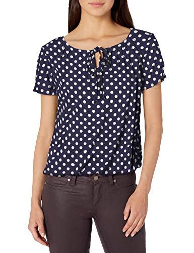 Star Vixen Women's Short/Slit Sleeve Keyhole-Tie Peasant Top Bubble Hem, Navy/White dot, L