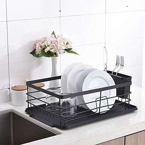 Juego de escurridor para platos, soporte para utensilios de cocina, resistente y resistente al óxido para platos, vasos y cubiertos
