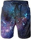 Bernice Winifred Outer Space Galaxy Stary Slip de Bain décontracté pour Hommes/garçons Pantalon de Plage Court à Taille élastique avec Poches