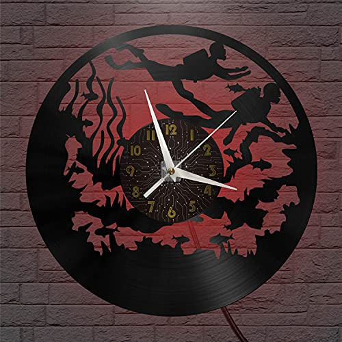 Reloj de Pared de Vinilo de 12 Pulgadas con Tema de Buceo, Reloj de Pared de Vinilo para Cocina, hogar, Sala de Estar, Dormitorio, Escuela (C) conArte deVinilo LED,Reloj de Vinilo Vintage, Regal