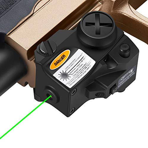 Pinty Green Laser Sight Tactical Green Dot Sight for Handgun & Pistols Designed for 20mm Picatinny Rail Mount Systems, Laser ClassIIIa, Laser Power Less Than 5mW