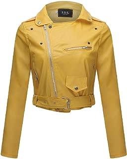 Women Faux Leather Bomber Jacket Moto Biker Jacket Slim PU Short Jacket Zipper Motorcycle Cool Outerwear Coat by Lowprofile
