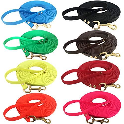 Sehr leichte Welpenleine Hundeleine Schleppleine für Welpen und kleine Hunde aus Biothane mit Handschlaufe, 5 Meter lang, Neongrün, 9 mm breit Superflex
