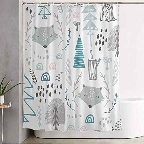 Shower Curtain for Bathroom Seamless Woodland Silhouette Fairy Pattern Wolf Kids Tree Forest Imaginary Heads Creative Textures Cloth Shower Curtain Polyester Fabric Machine Washable 72x72 Inch