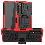LFDZ Sony Xperia 1 II Hülle,Abdeckung Cover schutzhülle Tough Strong Rugged Shock Proof Heavy Duty Hülle Für Sony Xperia 1 II,Rot