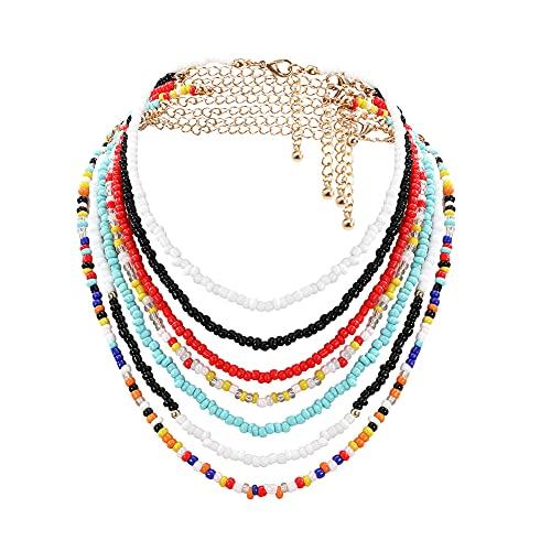 Hicollie Choker-Halskette, Boho-Stil, kleine Perlen, bunt, Schmuck, Perlenkette, farbige Halsketten für Frauen und Mädchen, verstellbar 30,5–40,6 cm