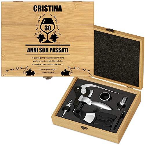 MURRANO Set di accessori da vino Deluxe - Kit Cavatappi da Vino Personalizzato - Scatola in legno di bambù + 8 pezzi di Accessori Vino - regalo donna - La vite