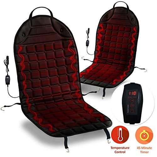 Zone Tech Car Heated Seat Cover Cushion Hot Warmer - Premium Quality 2 pack 12V...