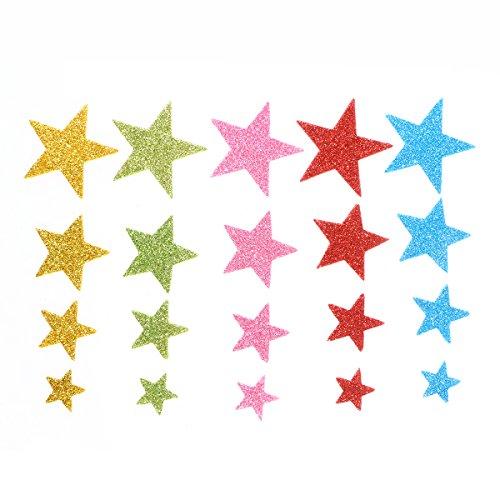 STOBOK 150 Stücke Glitzer Stern Schaumstoff Sticker Moosgummi Aufkleber Selbstklebende Wandaufkleber für Kinder Wanddeko DIY