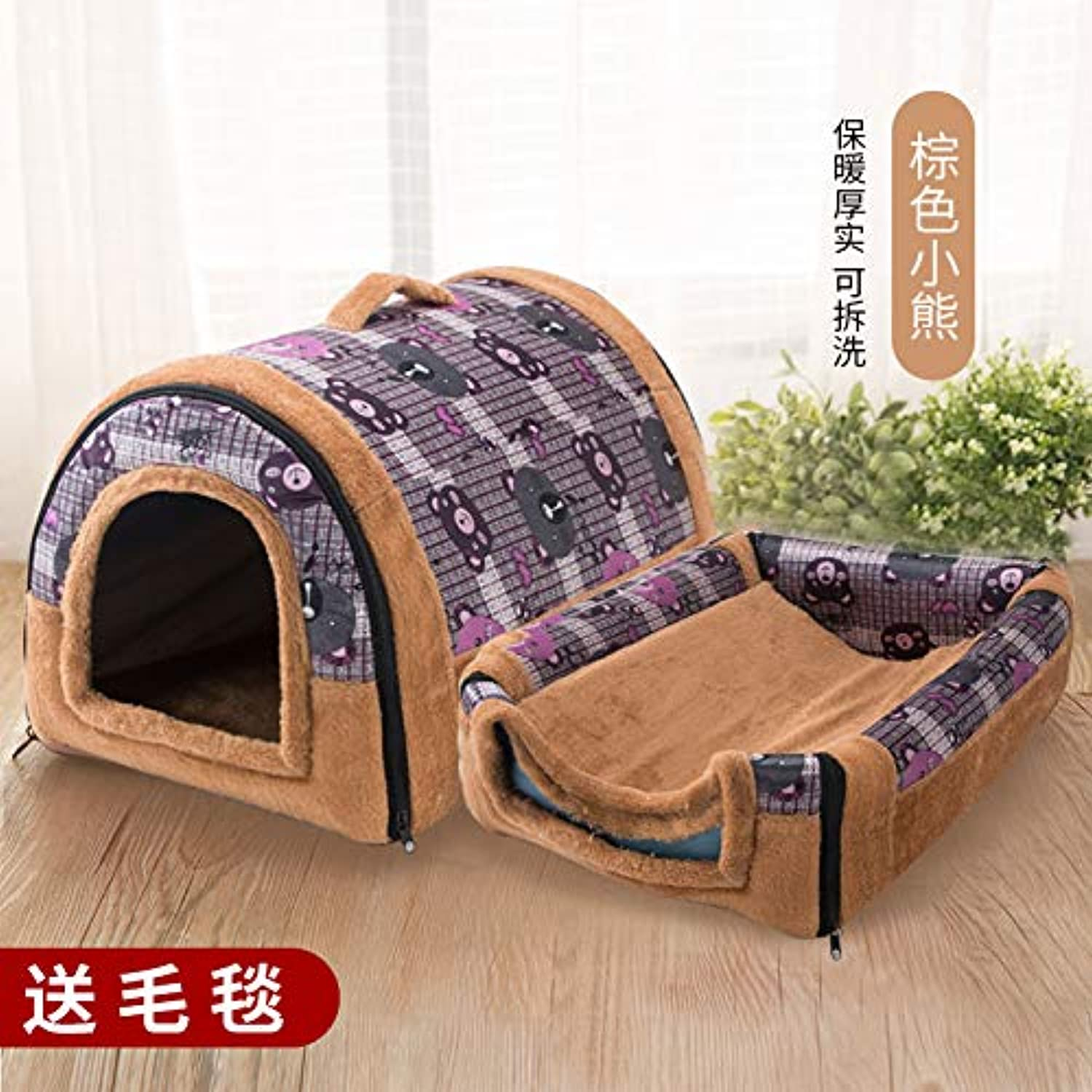Kennel winter mediumsized small di dog house cat pet house bed washable four seasons universal yurt, brown bear, L, 60cm47cm45cm