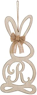 "Vintage Wooden Monogram Easter Bunny Hanging Bow Rabbit Wall Decor-""R"" - by Lonestar Wholesalers"