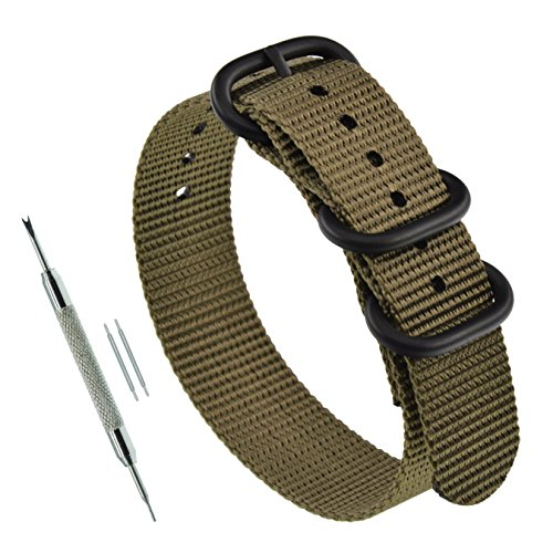 22mm Khaki Thick Nylon Watch Strap Band Replacement for Men 3 Rings Matte Black Buckle