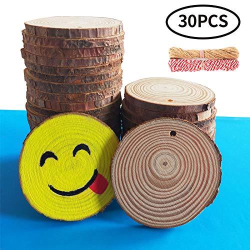 TQmate 30 pcs Rodajas de Madera Círculos 6-7cm, Rebanadas de madera natural Agujero perforado Tronco inacabado Círculos de madera para manualidades DIY Decoraciones de boda Adornos navideños