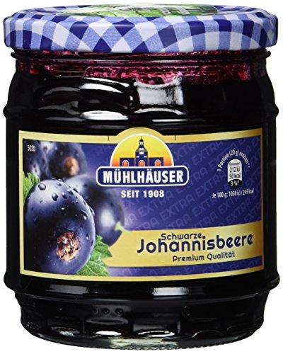 Mühlhäuser schwarzkirsche Johannisbeer Konfitüre Extra, 4er Pack (4 x 450 g)