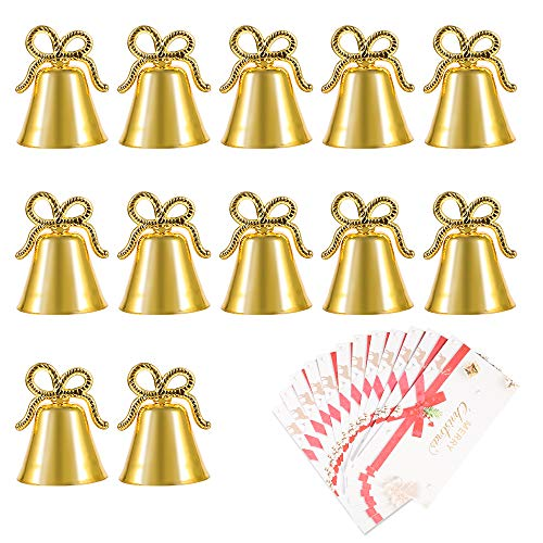 Amytalk 12 Pack Golden Christmas Bell Place Card Holders Kissing Bell Table Card Holder Memo Photo Picture Number Sign Stands Holder for Party Wedding Table Decoration