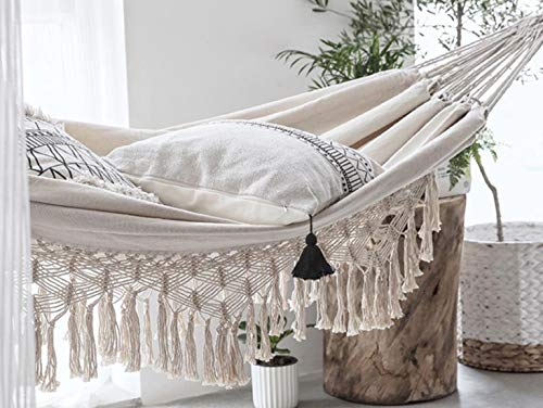 Terracotta Door Boho Hammock for 2 Adults, Brazilian Style Hammock Rope for Indoor, Outdoor, Patio, Porch, Bedroom, Beach and More- White Canvas Rope Hammock, Macrame Hammock, Cotton Hammock