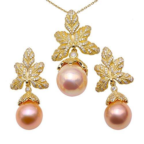 JYX Lustro Big Size 12.5 × 15.5-14.5 × 18mm Collana e orecchini con pendente barocco rosa 18'