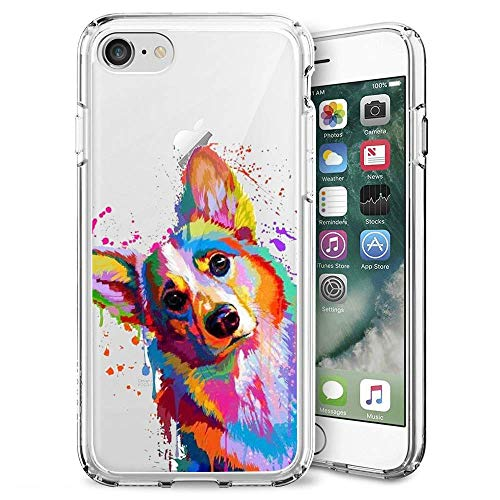 Fashion Anti-Scratch Soft Durable TPU Ultra-Clear Silicone UV Printing Protective Sun and Moon Phone Case for iPhone 7 8 (Colorful Corgi)