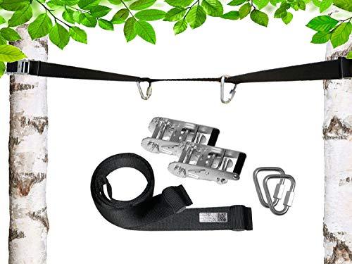 PATRON® BETWEEN 12m, Spanngurt zum Hängen zwischen Bäumen - Belastbarkeit 2200 kg inkl. 2 Premium Delta Karabiner, Polyester, abnehmbar und erweiterbar, PAT Bandlänge:12m