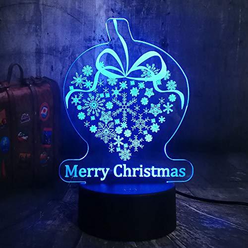 DFDLNL Frohe Weihnachten Geschenk Schneeflocke 3D LED RGB Nachtlichter USB Schreibtischlampe Wohnkultur Geburtstagsgeschenk Neuheit Kind Spielzeug