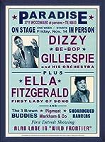 ポスター デニース ローレン Dizzy Gillespie and Ella Fitzgerald at Paradise 1947 額装品 ウッドベーシックフレーム(ブルー)