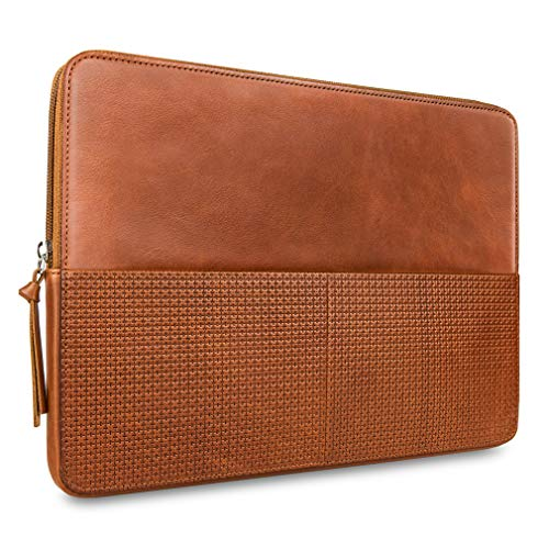 """CAISON Genuine Leather Laptop Case Sleeve for 13.5 inch Microsoft Surface Laptop 3 / DELL XPS 13/13.9"""" Huawei Matebook X Pro 2019/13.3"""" HP Envy 13 Spectre 13"""