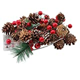 Guirlande de Noël à piles cône Mini LED Lighted pin Garland pour Décorations de Noël Décor de...