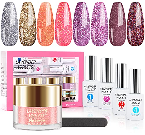 Lavender Violets Quick-Dry Dip-Powder-Nail-Kit of 8 Glitter Colors 0.5 oz/bot. Large Capacity for Salon with 4 Gel Liquid All-in-One Nail Manicure Fast Drying Dipping Powder Set J744