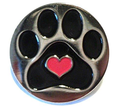 Dog Paw Print With Love Heart Metal Enamel Pin Badge Pet Lover Brooch