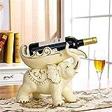 Estante de vino casero De estilo europeo creativo decoraciones de sala de estar moderna de cerámica de los elefantes estante del vino decoración del hotel restaurante Crafts Botellero de madera