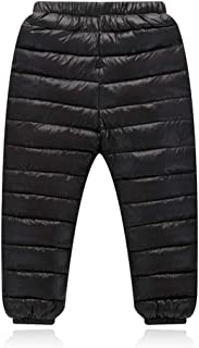 BAOPTEIL Toddler Boys Girls Winter Outdoor Active Down Pants Warm Thick Down Trousers Windproof Snow Pants 2-8Y