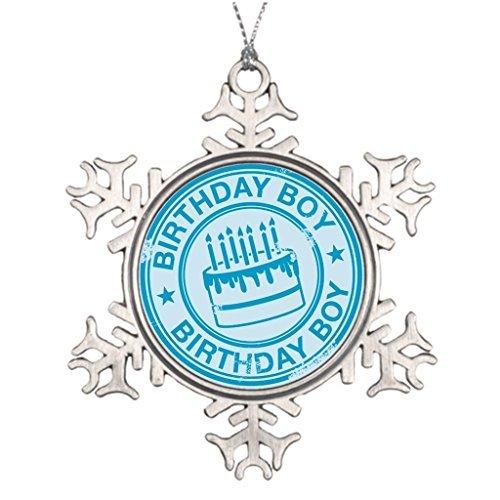 Yilooom Weihnachtsbaumdekoration für Jungen, Blauer Gummi-Stempel, Geburtstag, Zinn, Schneeflocken-Ornamente