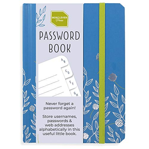 Boxclever Press Password Book with Alphabetical tabs. Never Forget a Password Again! Password Keeper for All Internet Login Details. Password Journal for Home or Office - 6 x 4.5''