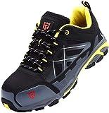 LARNMERN Calzado de Seguridad Hombre, Puntera de Acero Zapatillas Trabajo Transpirable Anti-aplastante Calzado Seguridad Deportivo (43 EU,Ceniza Negra)