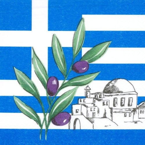 Lot de 50 serviettes « Grèce » (33 x 33 cm) - 3 plis - XXL