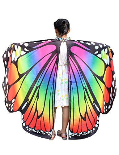 Halloween Butterfly Rainbow Wings Costumes for Girls Accessory Colours Cape