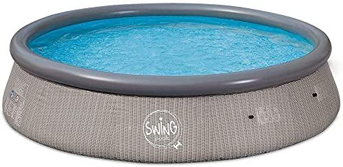 well2wellness® Quick-Up Pool Aufstellbecken Swing Ø366 x 91cm grau Rattan Design