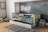 furnneo Kinderbett mit Schubladenbett Weiß Jugendbett Juniorbett Bett 90 x 200 inkl. Lattenrost, aus Buche massivholz (Weiß, Mit Zusatzbett)