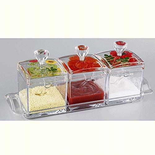 Olla cuadrada para condimentos, caja de salsa de cocina de tres piezas, caja de condimentos para el hogar (transparente)