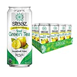 Steaz Organic Unsweetened Iced Green Tea, Lemon, 16 FL OZ (Pack of 12)