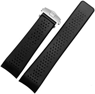 Men`s Military Strong Rubber Watch Band Soft Silicone Replacement Watch Strap with Stainless Steel Butterfly Buckle Universal Strap Waterproof Sport Black 22mm /24mm