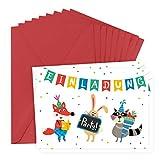 """Einladungskarten im 8er Set zum Kindergeburtstag für 8 Personen, für Junge und Mädchen geeignet, mit Motiv""""Tiere machen Party"""", bunt, retro, vintage, gepunktet, vorgeschrieben mit Umschlag -"""