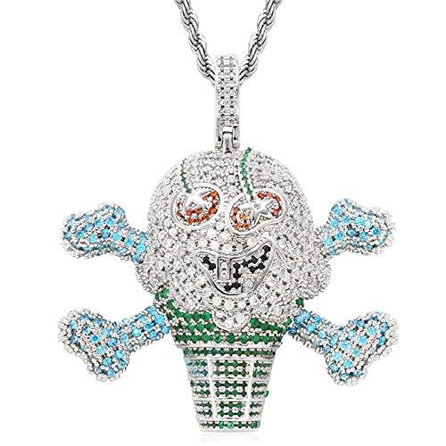 Hombres Mujeres Hip Hop Iced Out Bling Skull Pirate Ice-cream Colgante Collar, Collar De Diamantes Simulados Chapado En Oro De 18k Con Cadena De Eslabones De Cuerda De Acero Inoxidable