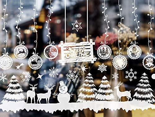 E-Bestar Fensteraufkleber Weihnachten,Christmas Decor Schneeflocken Aufkleber Design für Winter Weihnachtsaufkleber PVC Abnehmbare Aufkleber(Weiß)