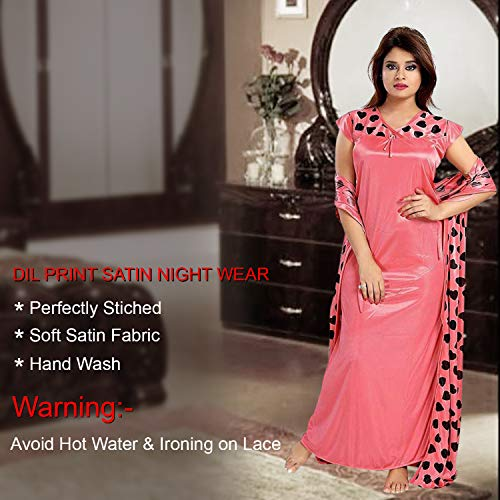 VindhWashni Women Satin Printed 2 pcs Nighty with Robe Gown Set Pink Color -Free Size